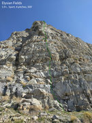 Rock Climbing Photo: First three pitches of Elysian Fields; pitch four ...