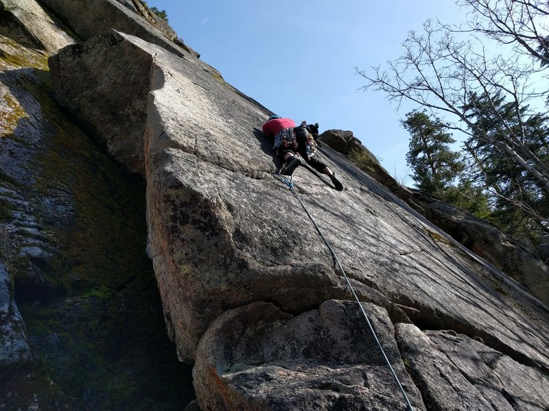 Rock Climbing Photo: Climber on Ragweed. Barbie Mud Flaps follows the a...