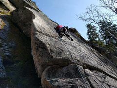 Rock Climbing Photo: Climber on Ragweed. Barbie Mud Flaps follows the a...