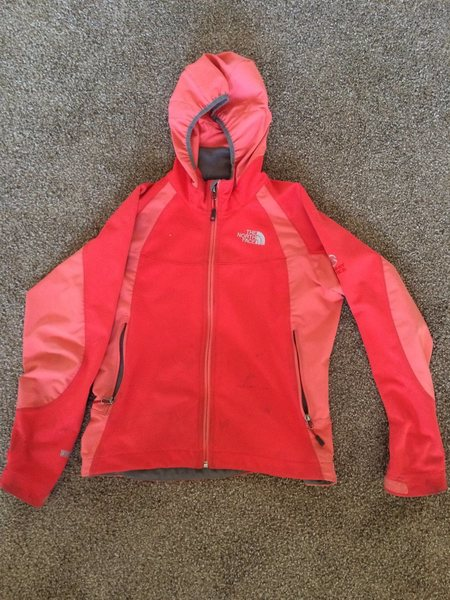 $50- Womens North Face Summit Series soft shell jacket w/ hood (some stains), Size S