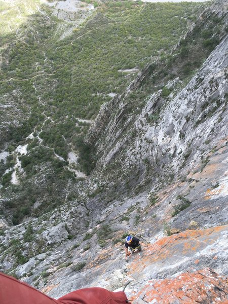 Rock Climbing Photo: Heading up the 4th pitch of Land of the Free on Fr...