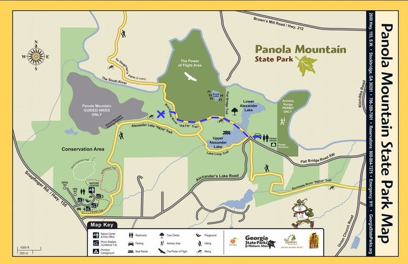 A map of the approach. Your path will be in blue. BE SURE TO STOP AT THE NATURE CENTER FIRST!