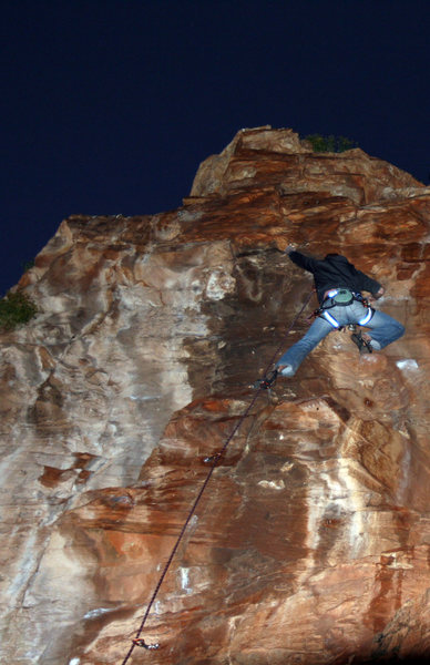 Rock Climbing Photo: Climbing Elkes Puder by headlamp at night.
