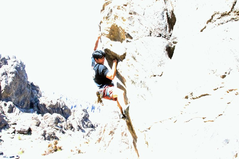 Rock Climbing Photo: overly washed out photo of dante entering the crux...