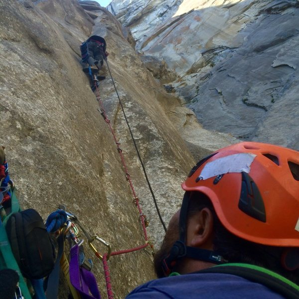 Rock Climbing Photo: Bosque leading Fistful of Copper pitch, Mucci Bela...