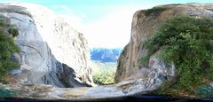 Rock Climbing Photo: Flattened Pano of final belay ledge.