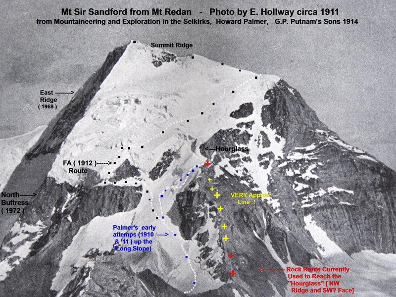 Rock Climbing Photo: Mt Sir Sandford, circa 1911, with Modern Routes Ad...