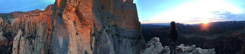 Rock Climbing Photo: The view at the top of Earth Angel at sunset