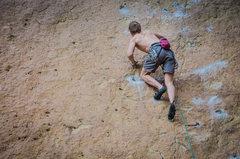 Rock Climbing Photo: Unknown climber hiking up Heinous Cling