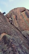 Rock Climbing Photo: Manny getting it done on the wide section before t...