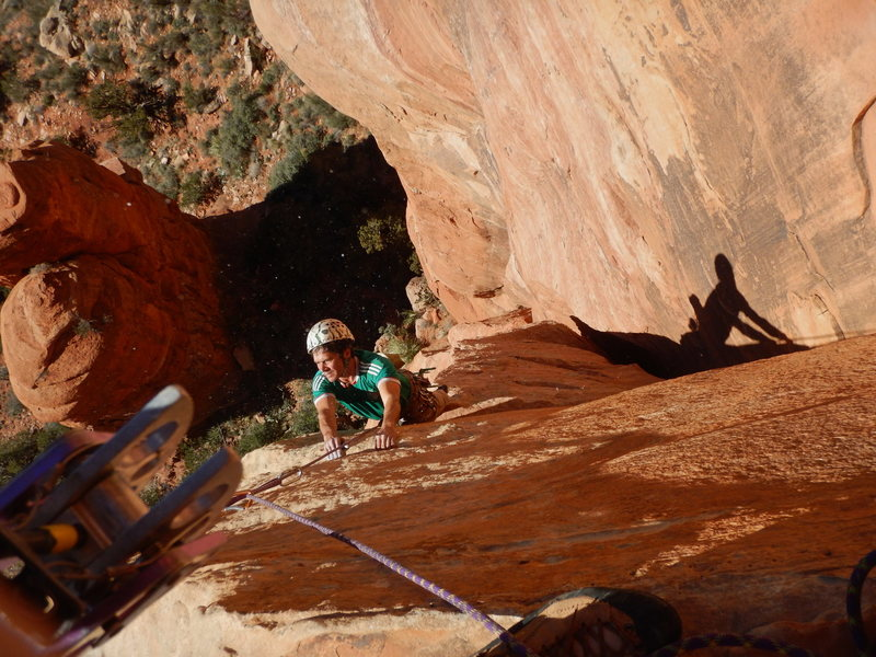 Rock Climbing Photo: Tim, beyond the groveling, enjoys a happy ending o...
