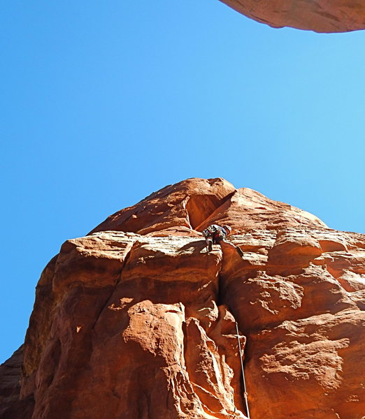 Rock Climbing Photo: Nate, just past the crux (fingers in the back of a...