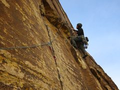 Rock Climbing Photo: James starting off Pitch 2 of Wholesome Fullback, ...