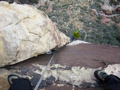 Rock Climbing Photo: Looking down the first part of Pitch 3 of Wholesom...
