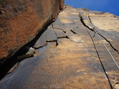 Rock Climbing Photo:  Twin cracks on Pitch 9 of Black Orpheus.