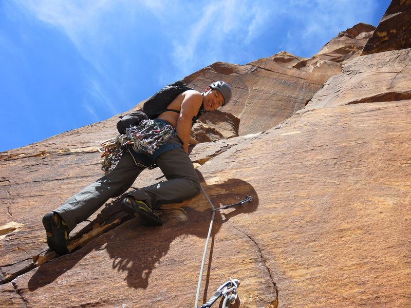 James making quick work of the crux on Pitch 10.