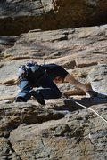 Rock Climbing Photo: Climbing up Critters on the Cliff. First 5.11a ons...