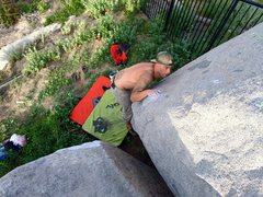 Rock Climbing Photo: Lock off on sloper crank high for left crimp!!