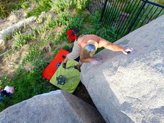 Rock Climbing Photo: Lock off on crimp and yogi right foot to non-exist...
