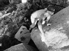 Rock Climbing Photo: Wrastle that Pebble!!!