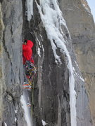 Rock Climbing Photo: P5 traverses right, and then up the chimney. Photo...