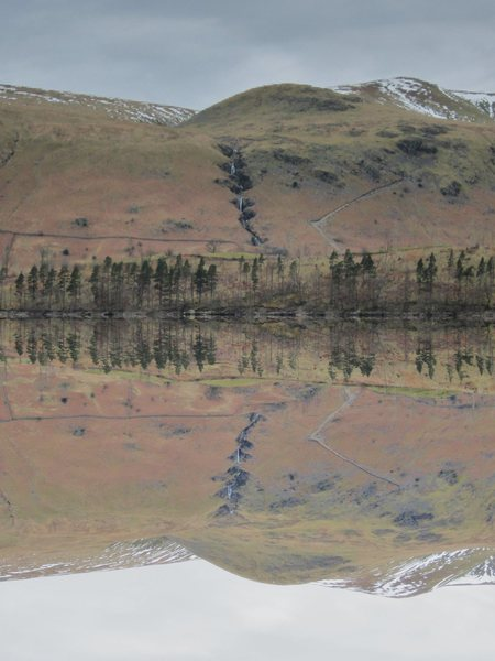 This photo is upside down . The reflection is so clear the upper part is just that .. Thirlmere Lake Cumbria.