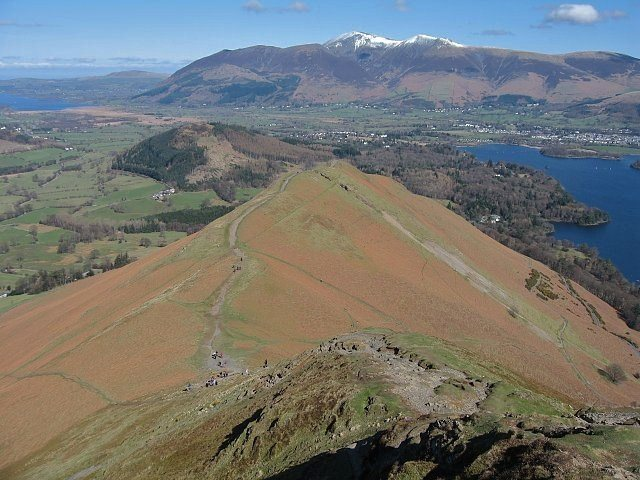 Looking down from the summit of Catbells towards the town of Keswick and Skiddaw Mt