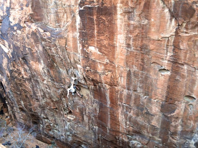 A climber on Lost 5.12a/b