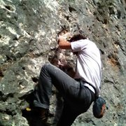 Rock Climbing Photo: Me on a free solo session on Marea. Mostly a train...