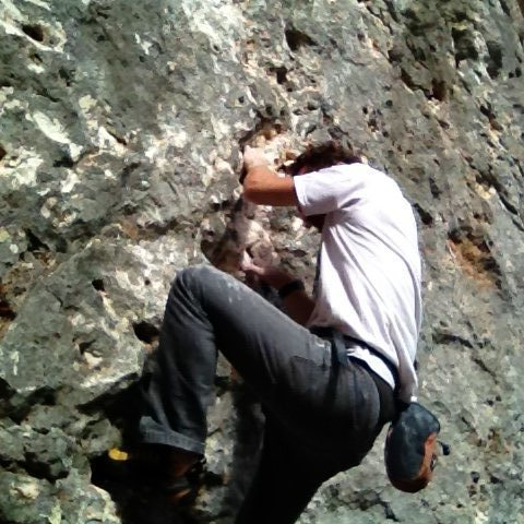 Rock Climbing Photo: The start of Marea with micro holds and jugs..