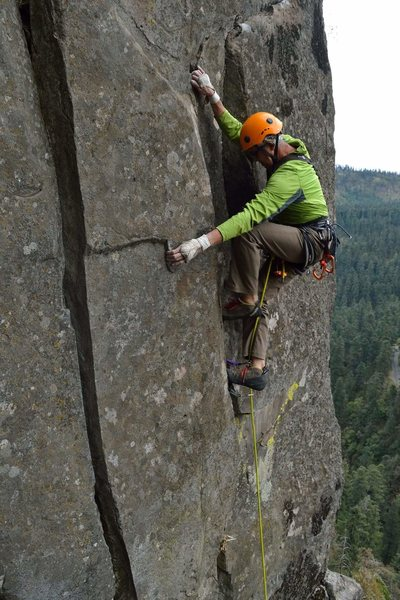 """Just past the crux at the """"jug"""""""