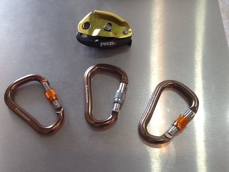 Rock Climbing Photo: Grigri 2 and Black Diamond lock carabiners..