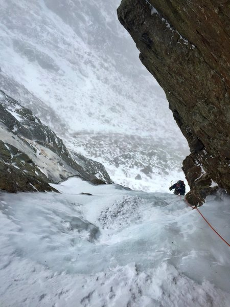Duncan pulling through the crux on pitch 1