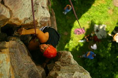 Rock Climbing Photo: view looking down from the top of old stump buttre...