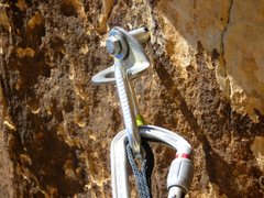 Rock Climbing Photo: One of the bolts was sticking about an inch out of...