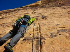 Rock Climbing Photo: The start of Pitch 5 of Eagle Dance (which we link...
