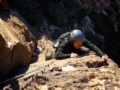 Rock Climbing Photo: James climbing Pitch 1 of Eagle Dance.