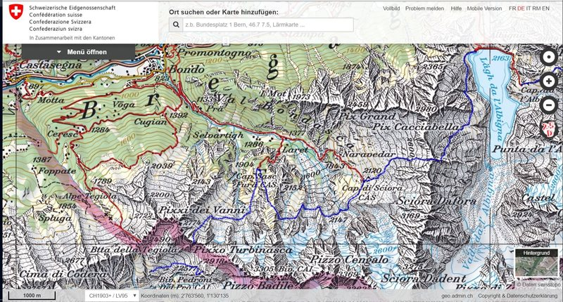 Val Bondasca, home of Piz Badile and Sciora Dafora; Val Bregaglia= Bergell, Swiss; +trails; scan by map.geo.admin.ch