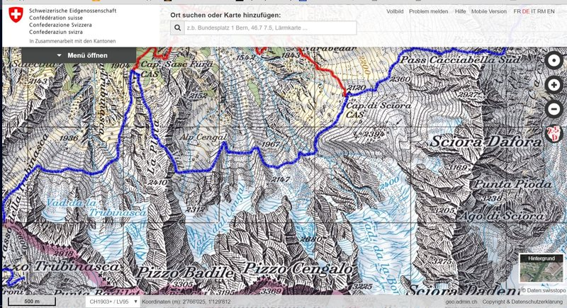 Piz Badile 3305m, Sciora Dafora 3169; Bergell; +trails; scan by map.geo.admin.ch