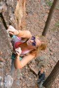 Rock Climbing Photo: Abbie Lumonster at the Tan Coridor in Staunton Sta...