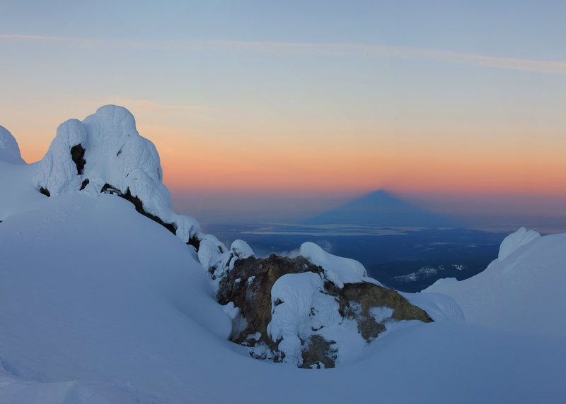 The shadow of Mt. Hood from the Hog's Back.