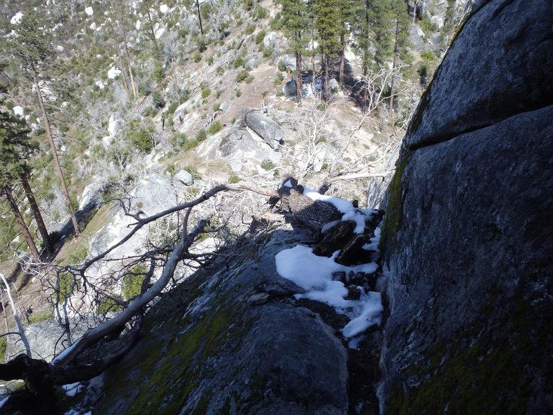 Rock Climbing Photo: Main Walk Off Tree is gone. Mandatory 5.5/5.6? dow...