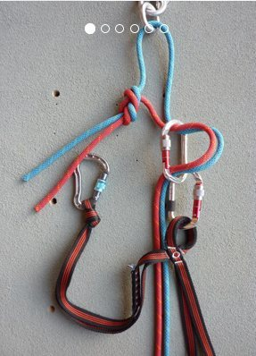 Rock Climbing Photo: French Advice on Rappel Set-up: Note the Knot