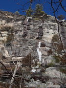 "Rock Climbing Photo: A ""falling-down"" ice line. The cliff fac..."