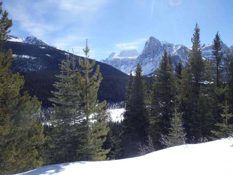 This will be your first view of Mt. Quadra (in the distance) and the route Gimme Shelter, as you ski the Moraine Lake road.