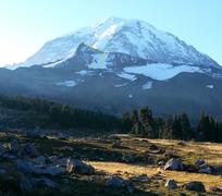 Rock Climbing Photo: Observation Rock from Spray Park, Mt. Rainier in b...