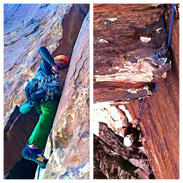Steve Levin (l) on P3 and Chris Grosshans (r) on the crux pitch of Cartwright Corner.