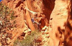 Rock Climbing Photo: Spoiler Alert: The 1st crux starts with this move....