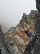 Rock Climbing Photo: Ledge/saddle below summit pyramid on south side
