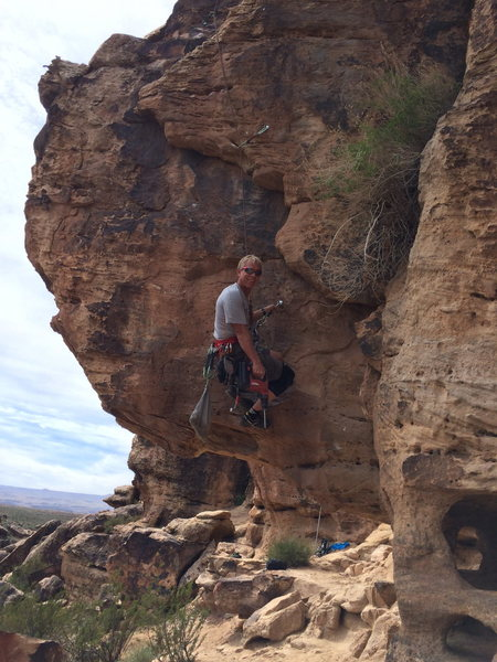 """Rock Climbing Photo: Bolting a new line.  """"Knee Replacement"""""""